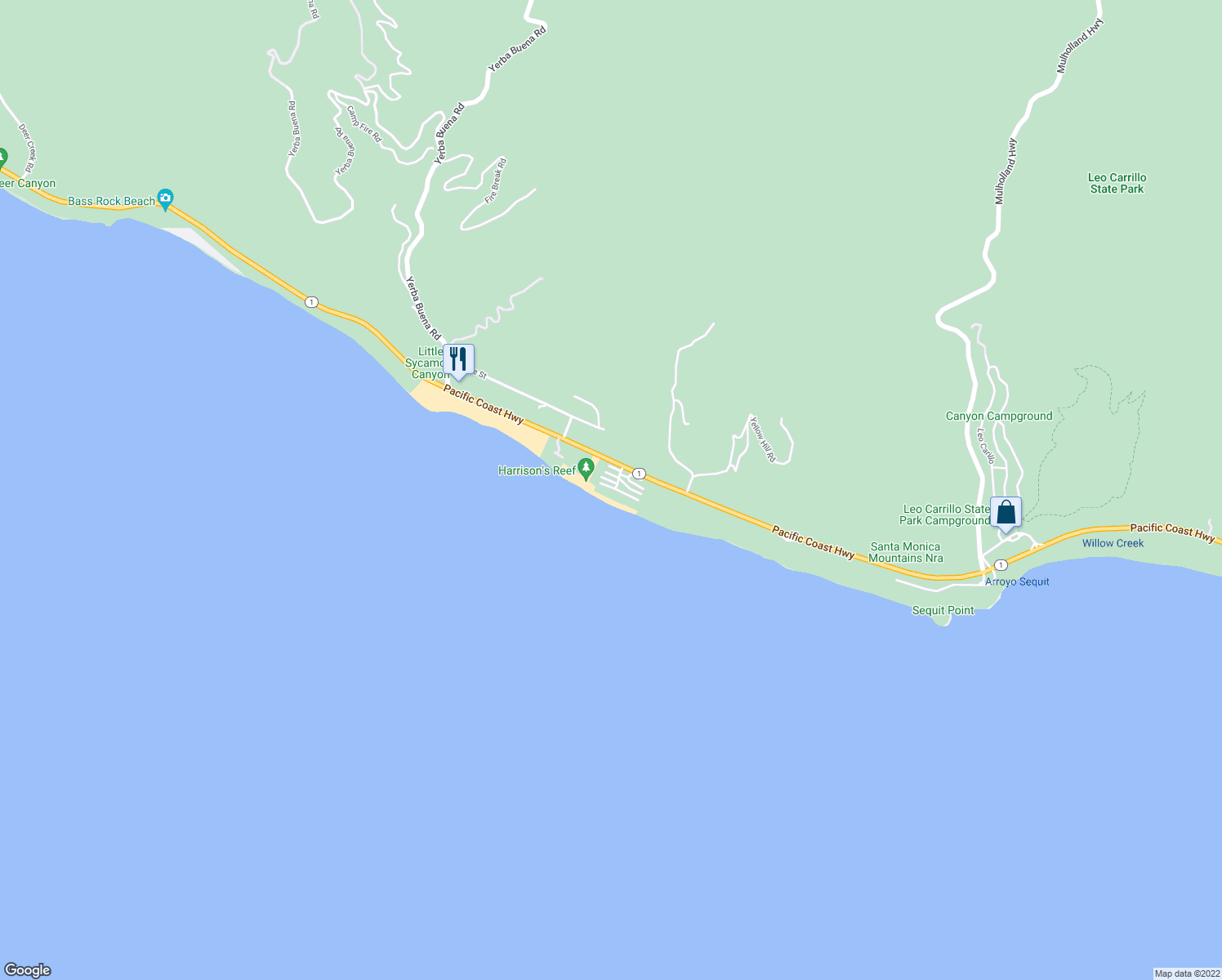 map of restaurants, bars, coffee shops, grocery stores, and more near 11862 South Beach Club Way in Malibu