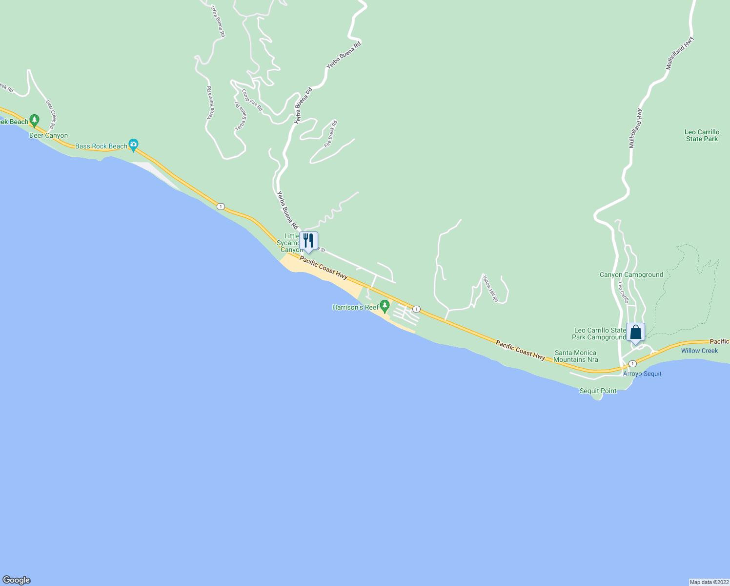map of restaurants, bars, coffee shops, grocery stores, and more near 11770 Pacific Coast Highway in Malibu