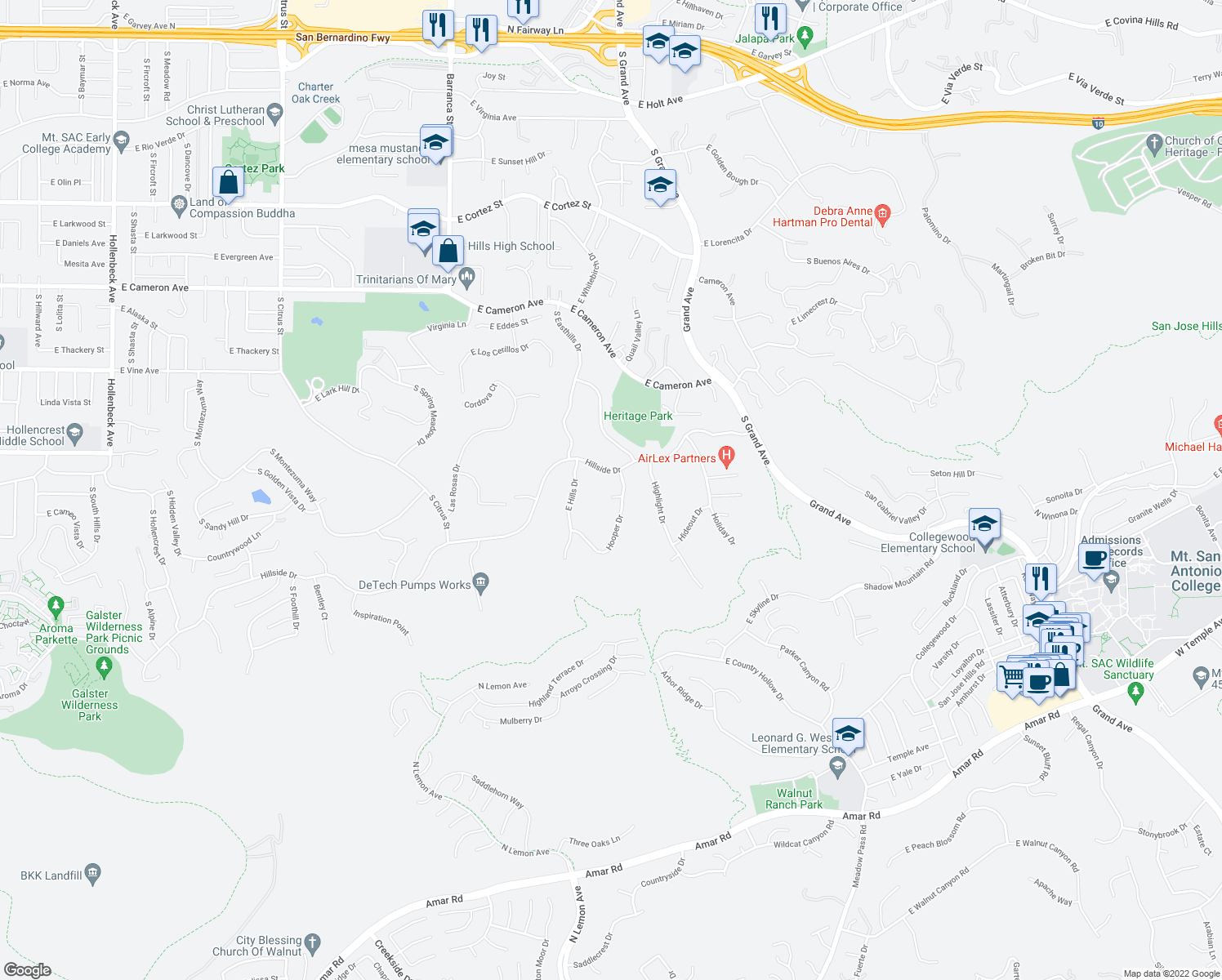 map of restaurants, bars, coffee shops, grocery stores, and more near 1023 Hooper Drive in West Covina