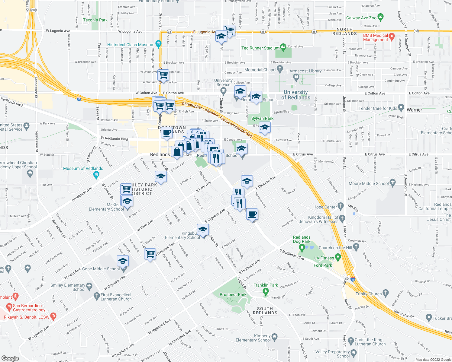 map of restaurants, bars, coffee shops, grocery stores, and more near 415-599 East Redlands Boulevard in Redlands