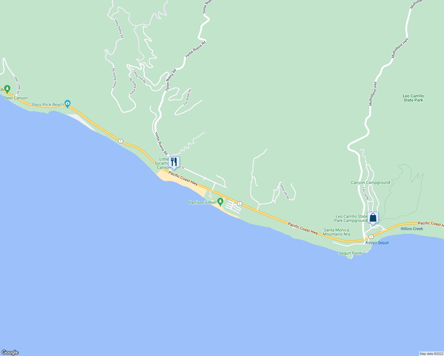 map of restaurants, bars, coffee shops, grocery stores, and more near Tongareva Street in Malibu