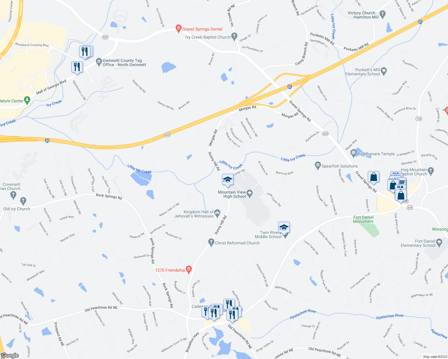 map of restaurants, bars, coffee shops, grocery stores, and more near 2373 Sunny Hill Road in Lawrenceville