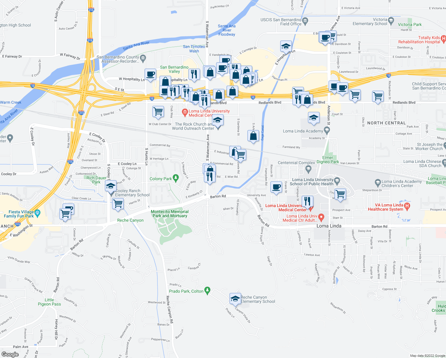 map of restaurants, bars, coffee shops, grocery stores, and more near 400 South Wier Road in San Bernardino