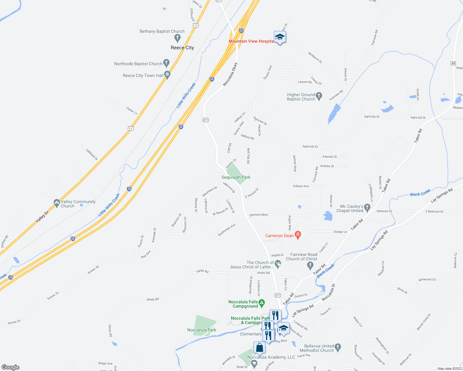 map of restaurants, bars, coffee shops, grocery stores, and more near 2528 Noccalula Road in Gadsden