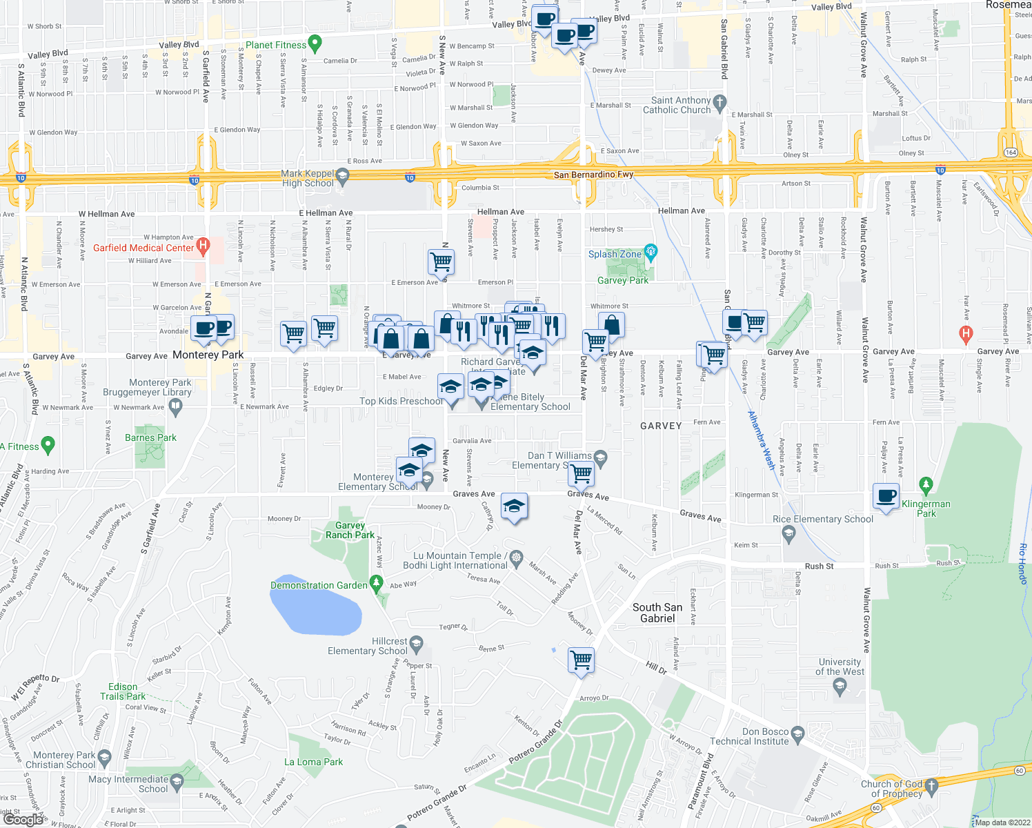 map of restaurants, bars, coffee shops, grocery stores, and more near 2533 Jackson Avenue in Rosemead