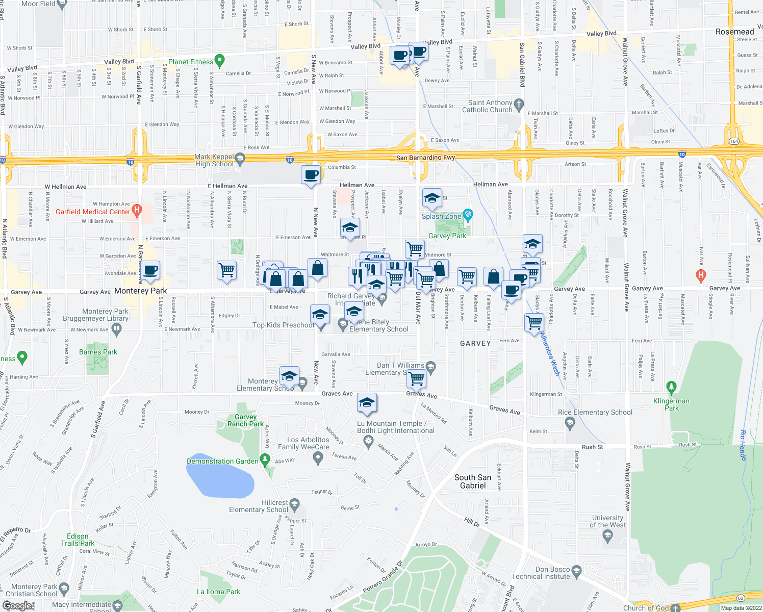 map of restaurants, bars, coffee shops, grocery stores, and more near 2720 Jackson Avenue in Rosemead