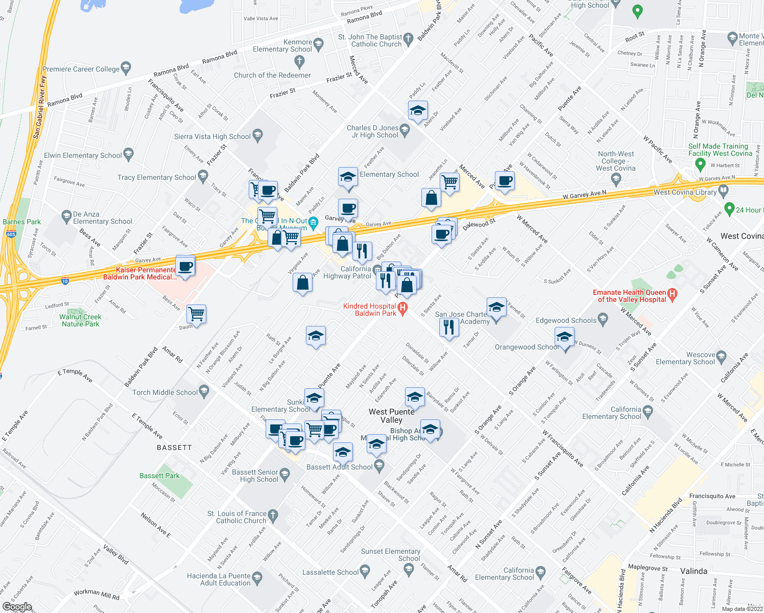 map of restaurants, bars, coffee shops, grocery stores, and more near 1511 North Puente Avenue in Baldwin Park