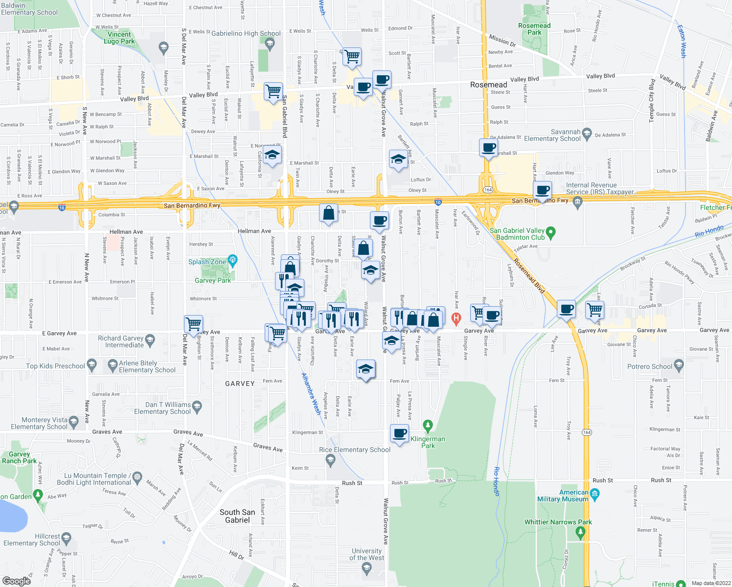 map of restaurants, bars, coffee shops, grocery stores, and more near 3114 Willard Avenue in Rosemead