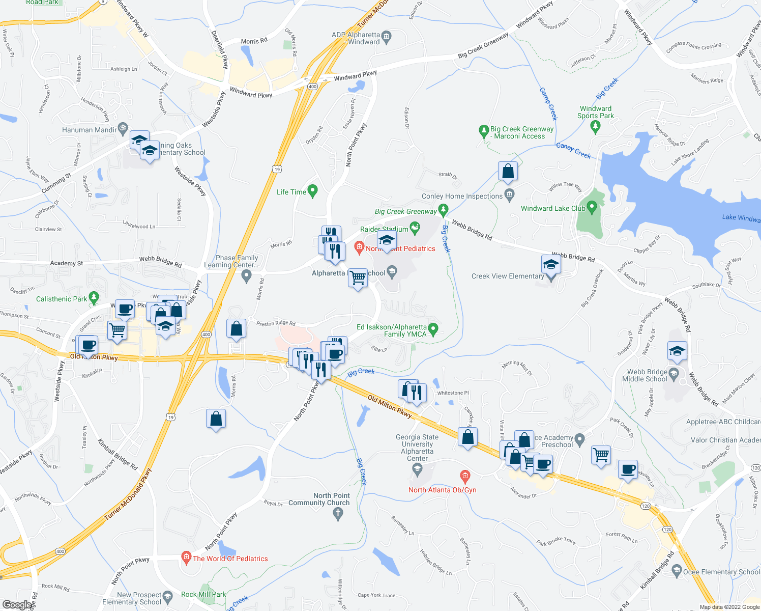 map of restaurants, bars, coffee shops, grocery stores, and more near 3500 North Point Parkway in Alpharetta