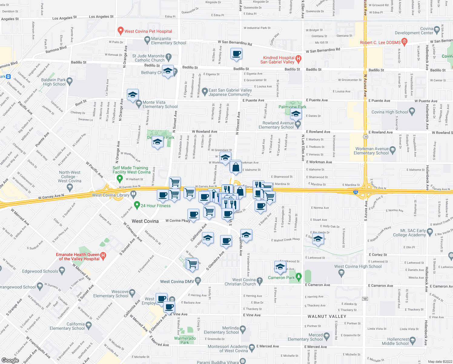 map of restaurants, bars, coffee shops, grocery stores, and more near 1015 West Garvey Avenue North in West Covina