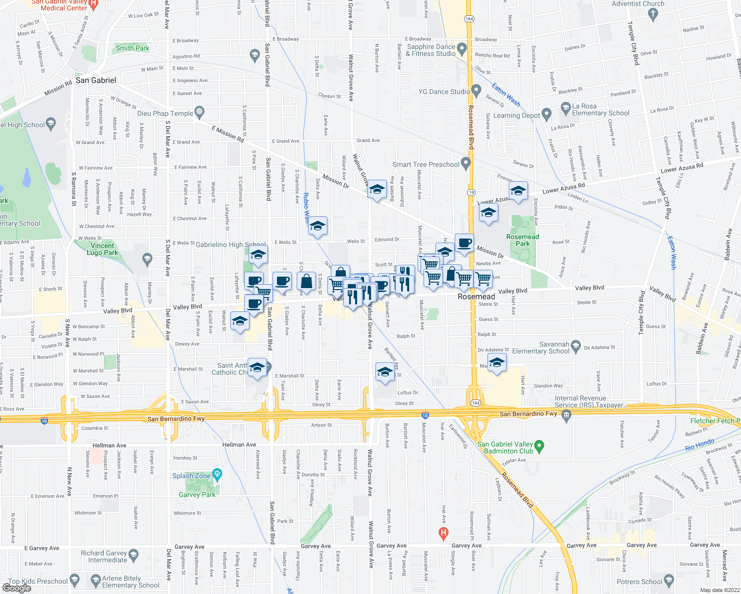 map of restaurants, bars, coffee shops, grocery stores, and more near Valley Boulevard & Walnut Grove Avenue in Rosemead