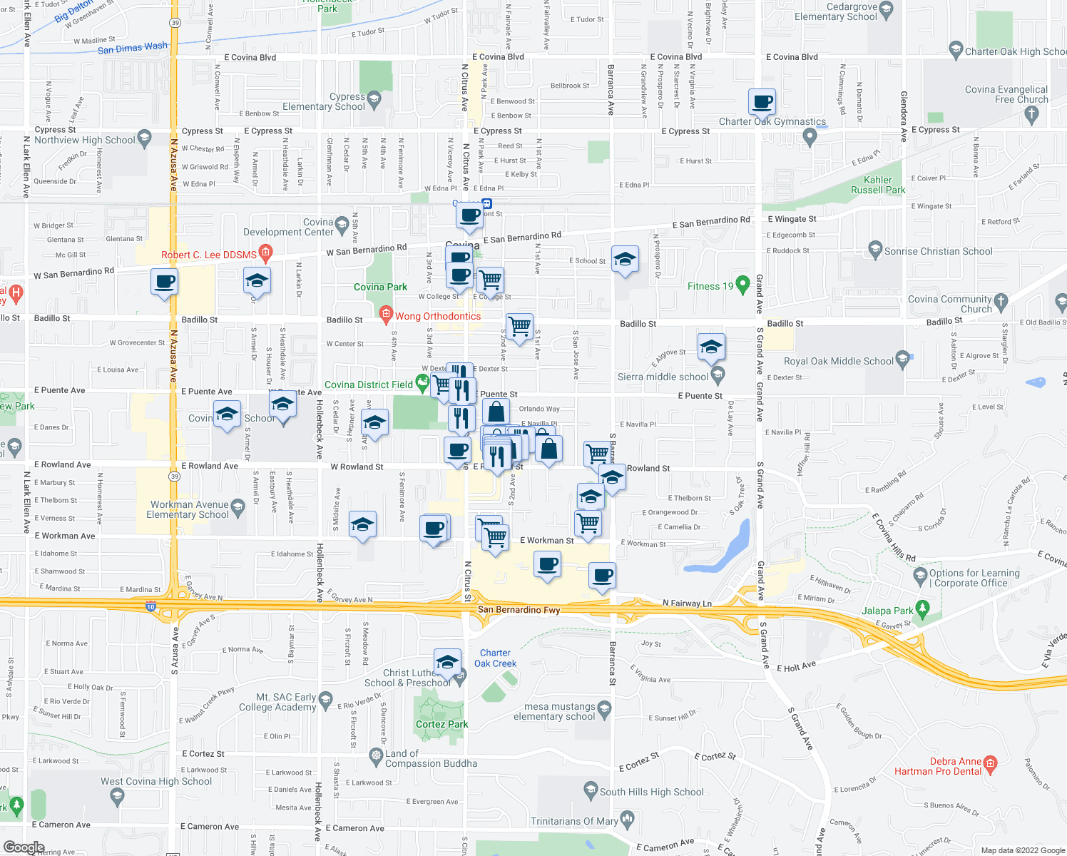 map of restaurants, bars, coffee shops, grocery stores, and more near 268 East Navilla Place in Covina