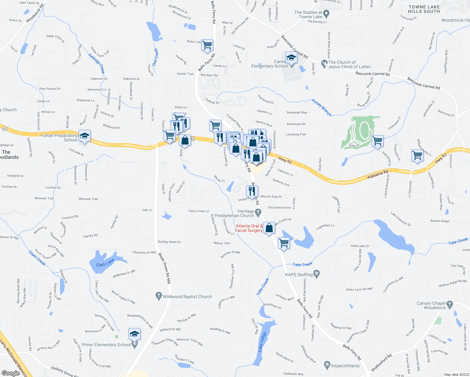 map of restaurants, bars, coffee shops, grocery stores, and more near Walden Circle in Acworth