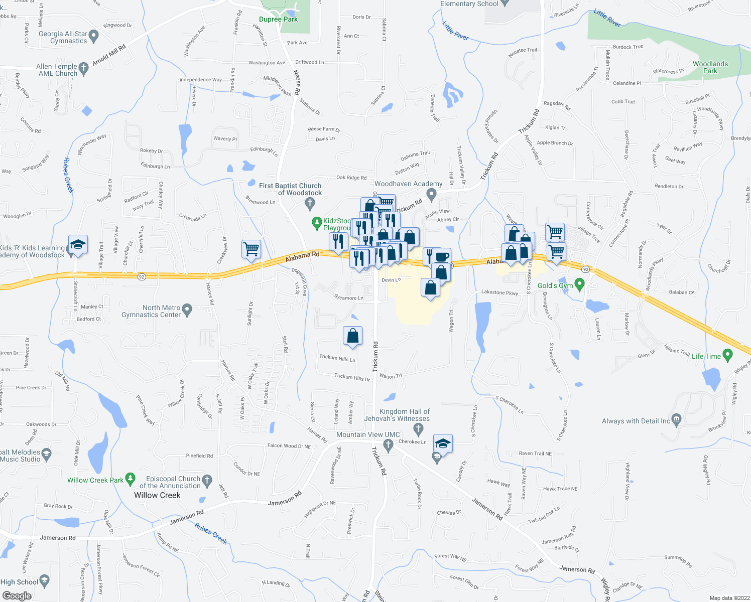 map of restaurants, bars, coffee shops, grocery stores, and more near 3372 Trickum Road Northeast in Woodstock