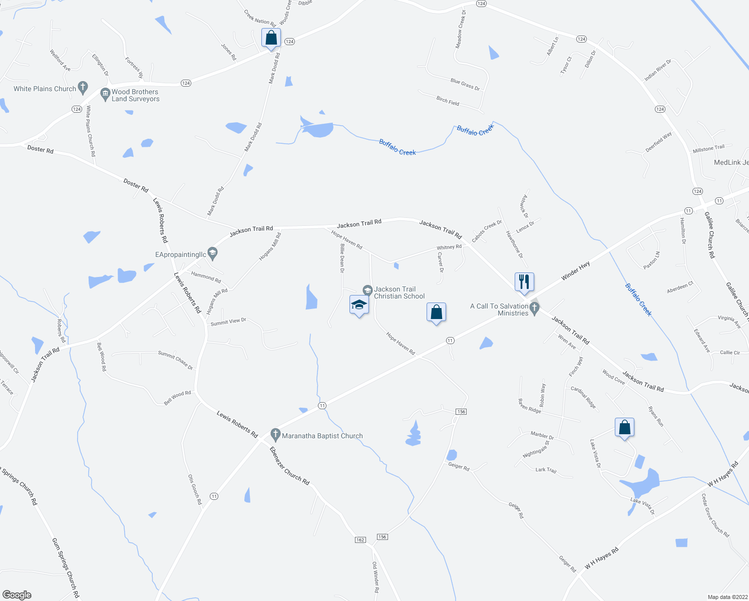 map of restaurants, bars, coffee shops, grocery stores, and more near 295-361 Hope Haven Road in Jefferson