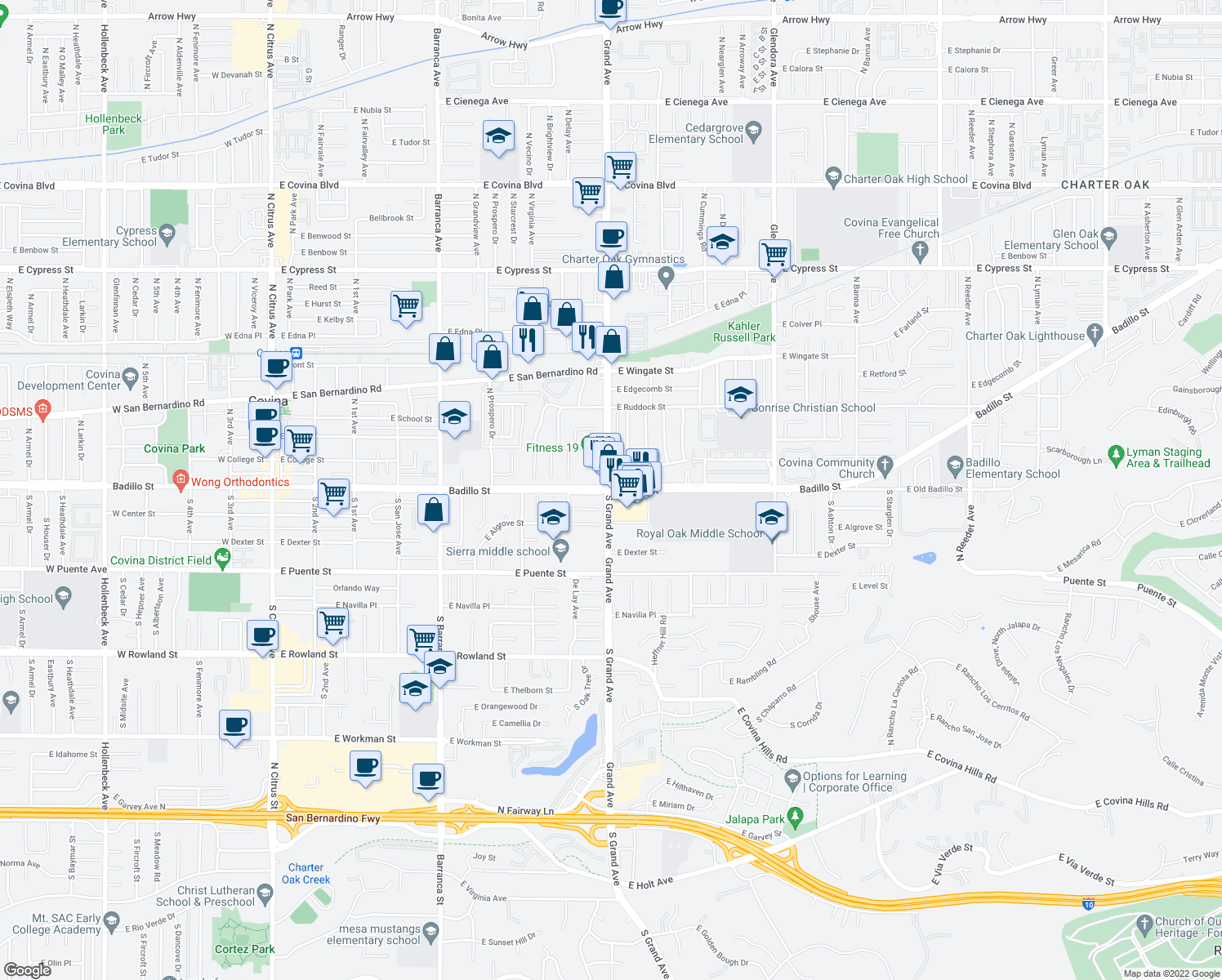 map of restaurants, bars, coffee shops, grocery stores, and more near 120 S Grand Ave in Covina