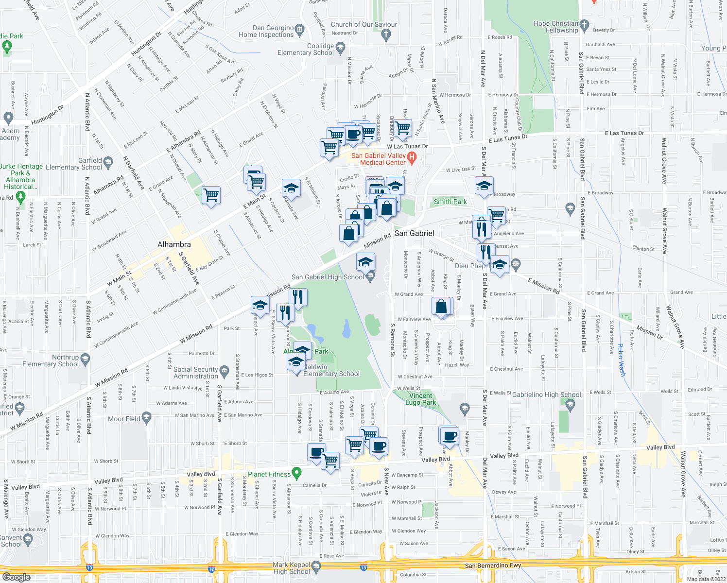 map of restaurants, bars, coffee shops, grocery stores, and more near 801 South Ramona Street in San Gabriel