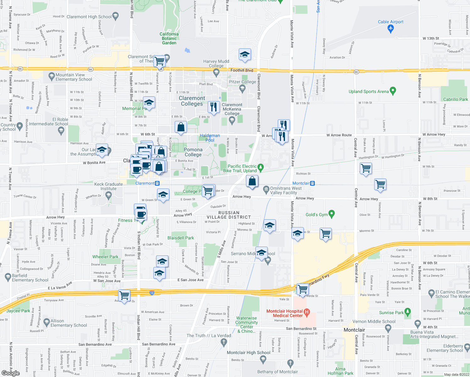 map of restaurants, bars, coffee shops, grocery stores, and more near 555 Wayland Court in Claremont