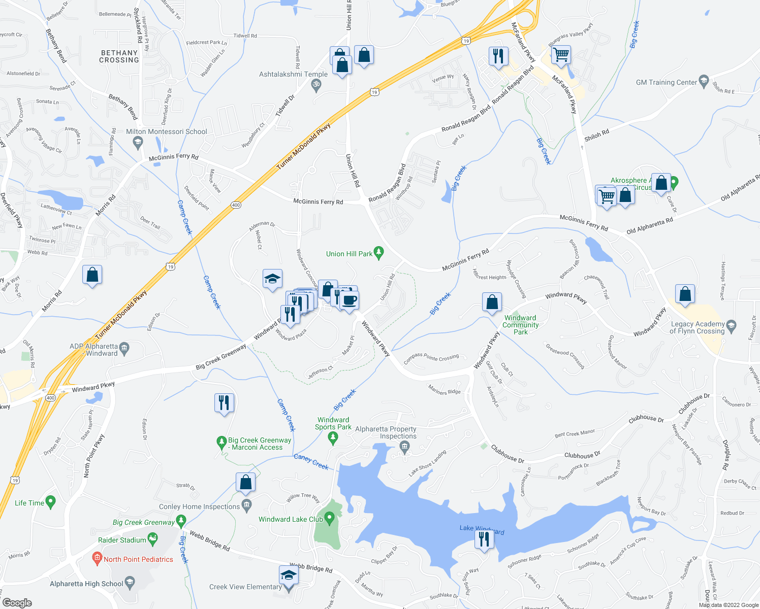 map of restaurants, bars, coffee shops, grocery stores, and more near 3104 Masters Way in Alpharetta