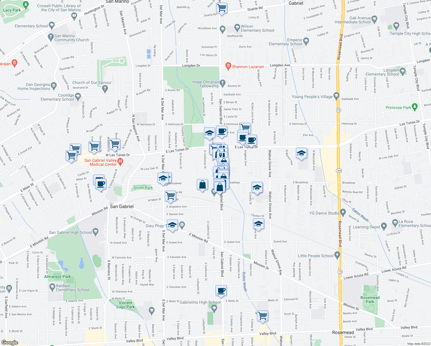 map of restaurants, bars, coffee shops, grocery stores, and more near 234 South Pine Street in San Gabriel