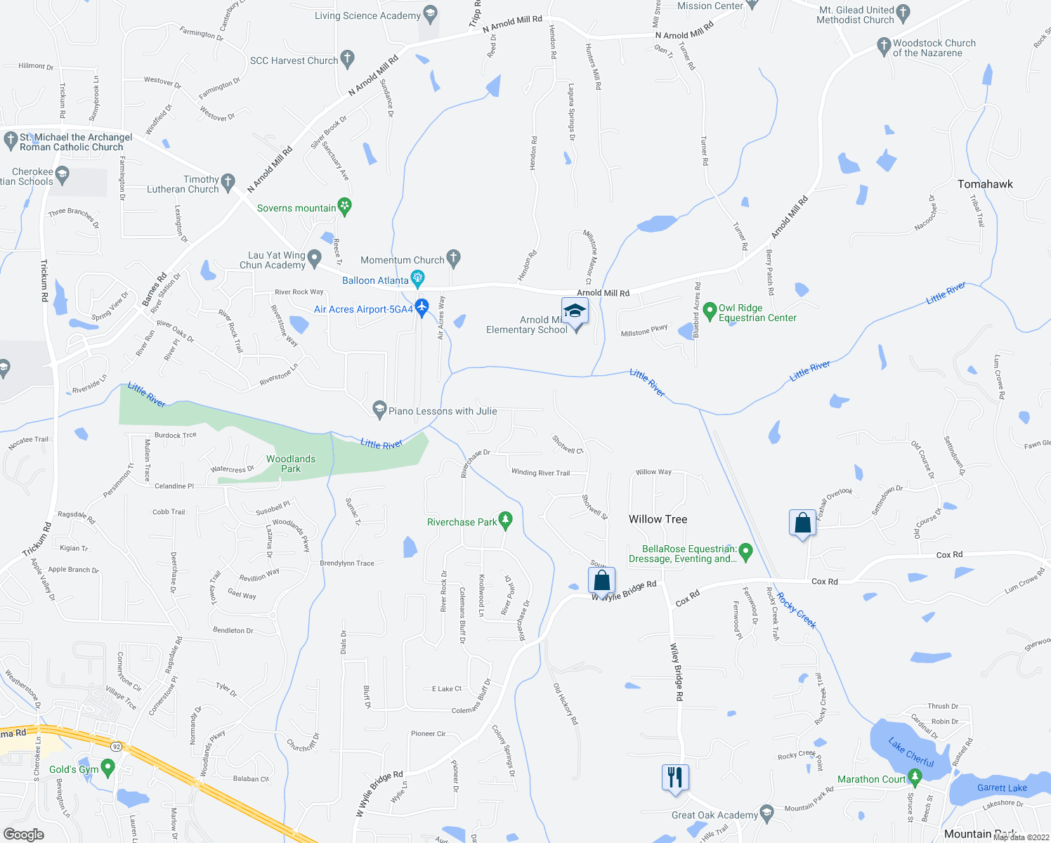 map of restaurants, bars, coffee shops, grocery stores, and more near 1503 Forest Court in Woodstock