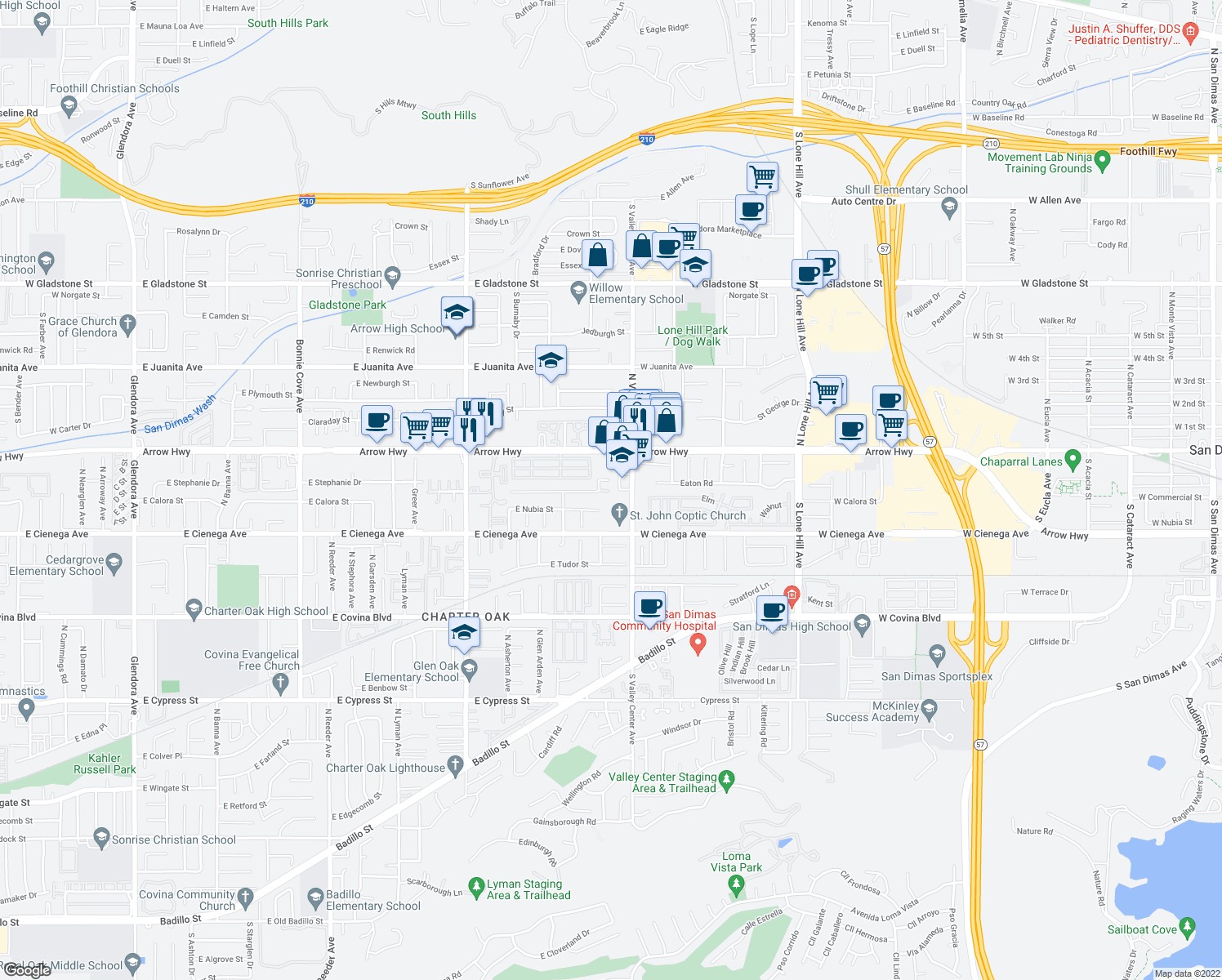 map of restaurants, bars, coffee shops, grocery stores, and more near 21320 East Calora Street in Covina