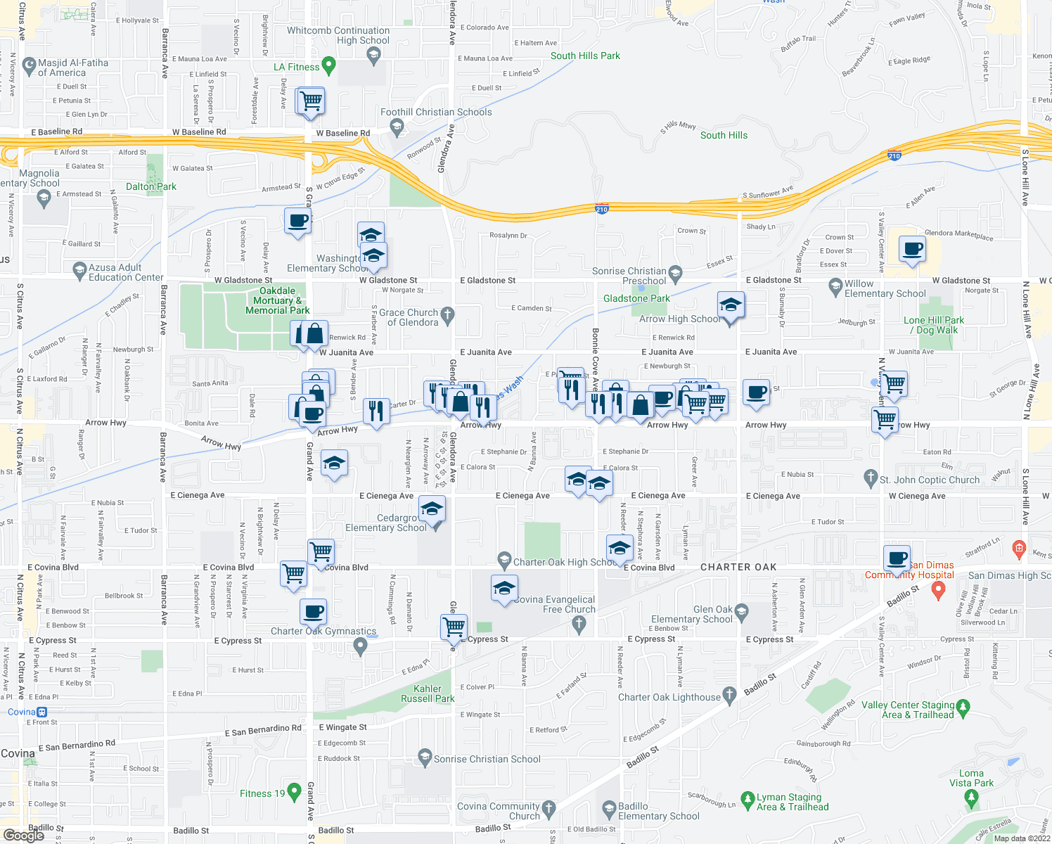 map of restaurants, bars, coffee shops, grocery stores, and more near 293 East Arrow Highway in Glendora
