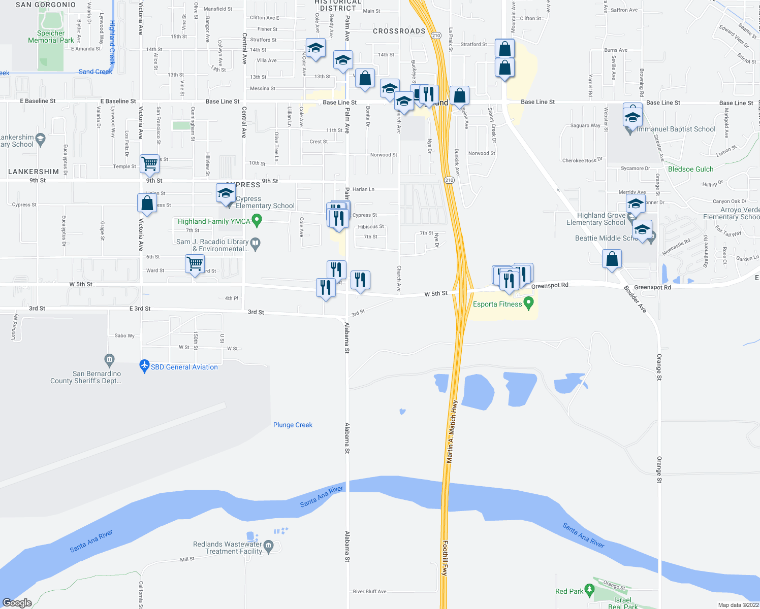map of restaurants, bars, coffee shops, grocery stores, and more near 42306 3rd Street in Highland