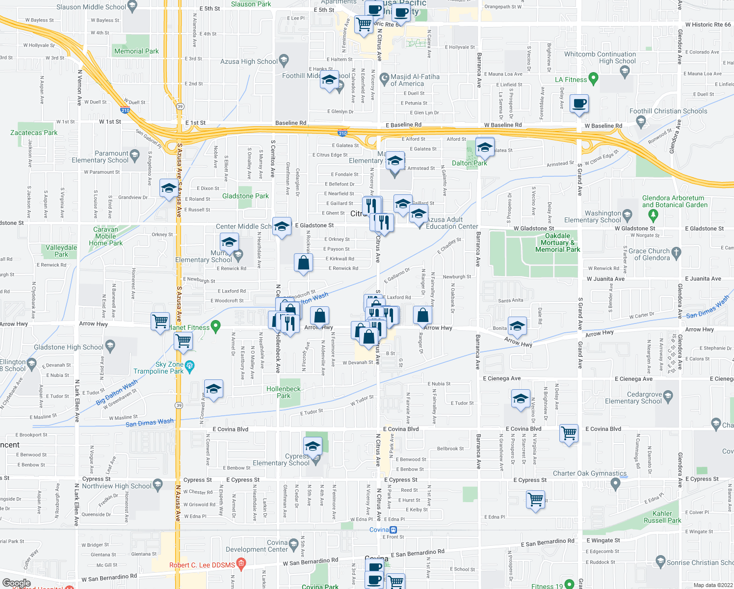 map of restaurants, bars, coffee shops, grocery stores, and more near 777 South Citrus Avenue in Azusa