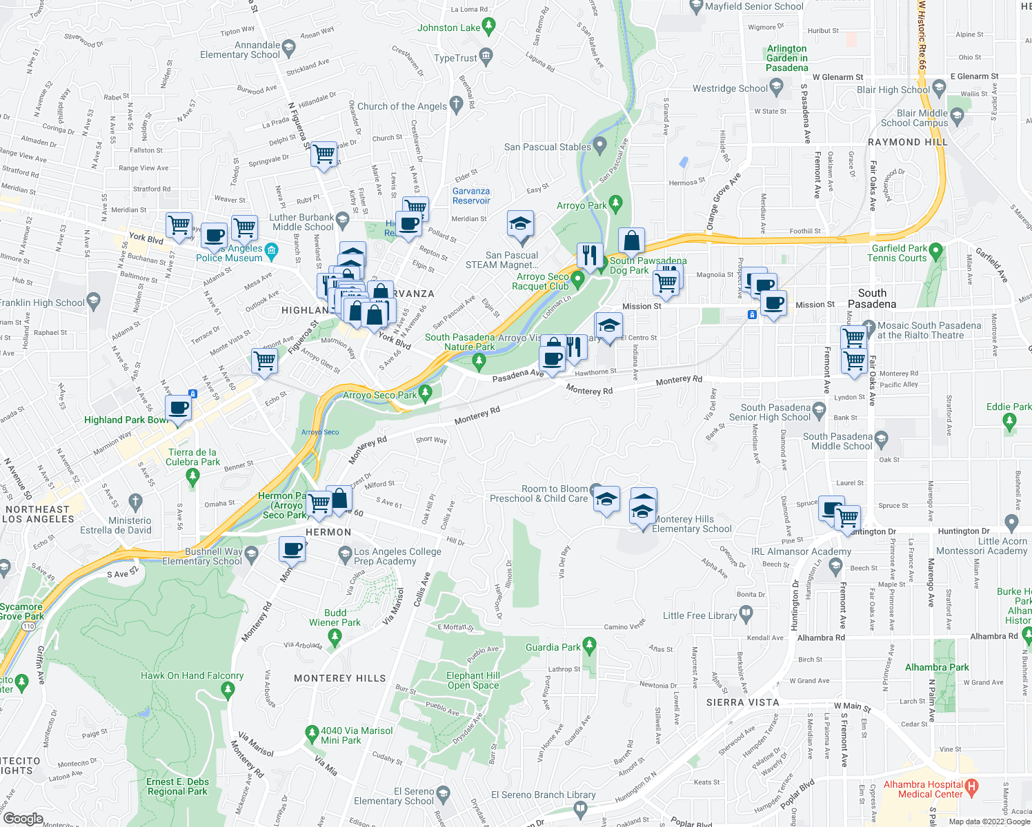 map of restaurants, bars, coffee shops, grocery stores, and more near 191 Monterey Road in South Pasadena