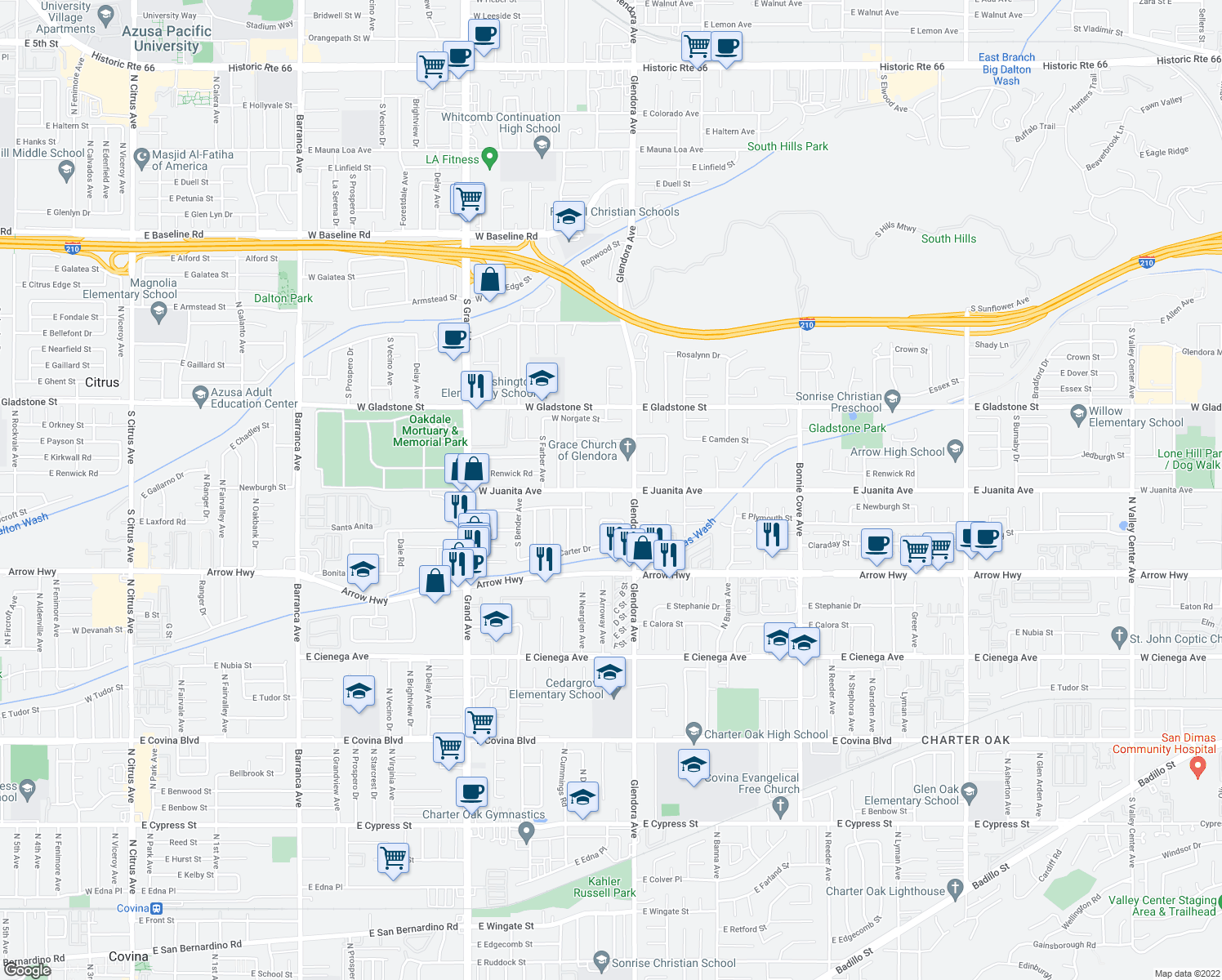 map of restaurants, bars, coffee shops, grocery stores, and more near 904 South Danehurst Avenue in Glendora