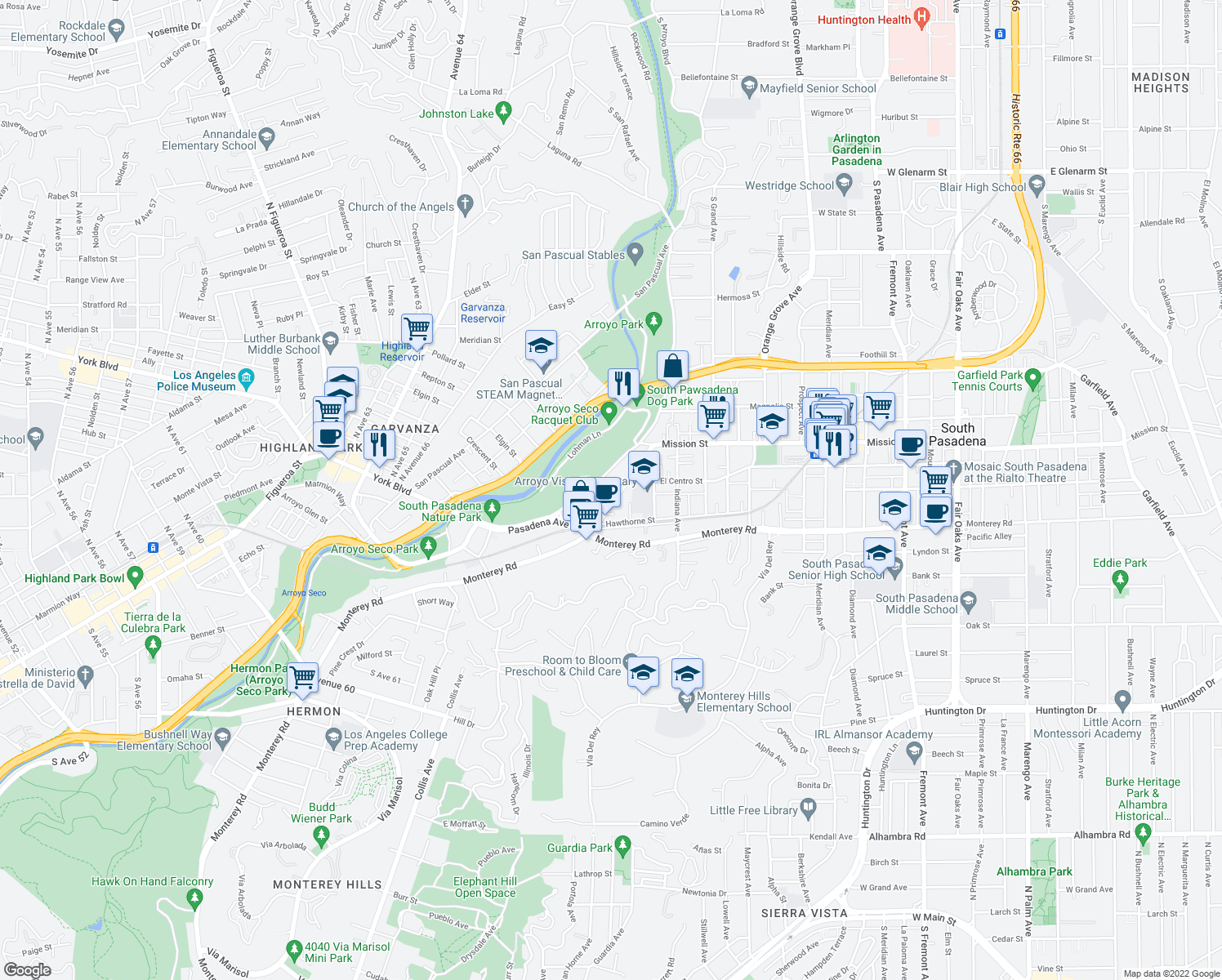 map of restaurants, bars, coffee shops, grocery stores, and more near 322 Pasadena Avenue in South Pasadena