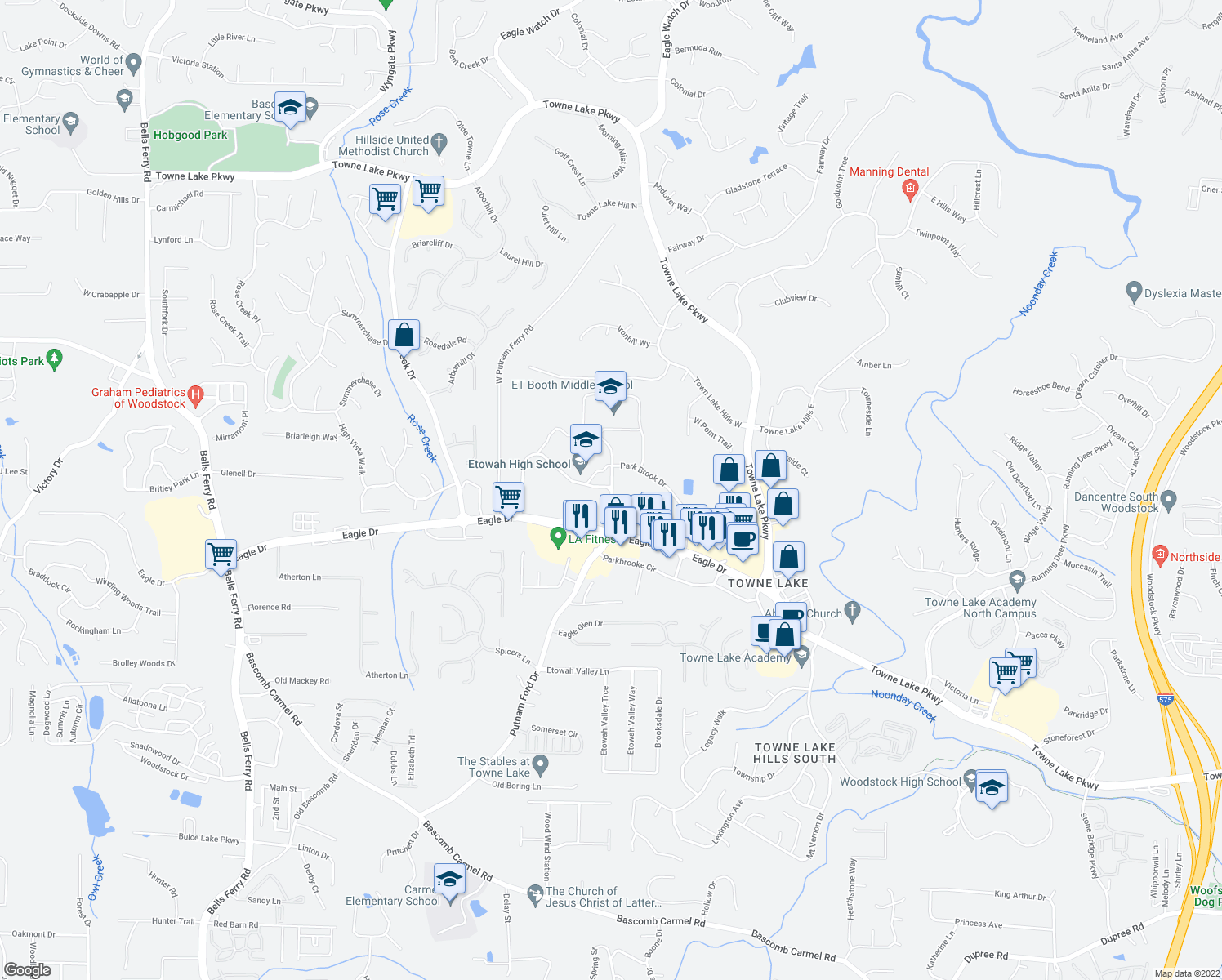 map of restaurants, bars, coffee shops, grocery stores, and more near 6512-6598 Putnam Ford Drive in Woodstock