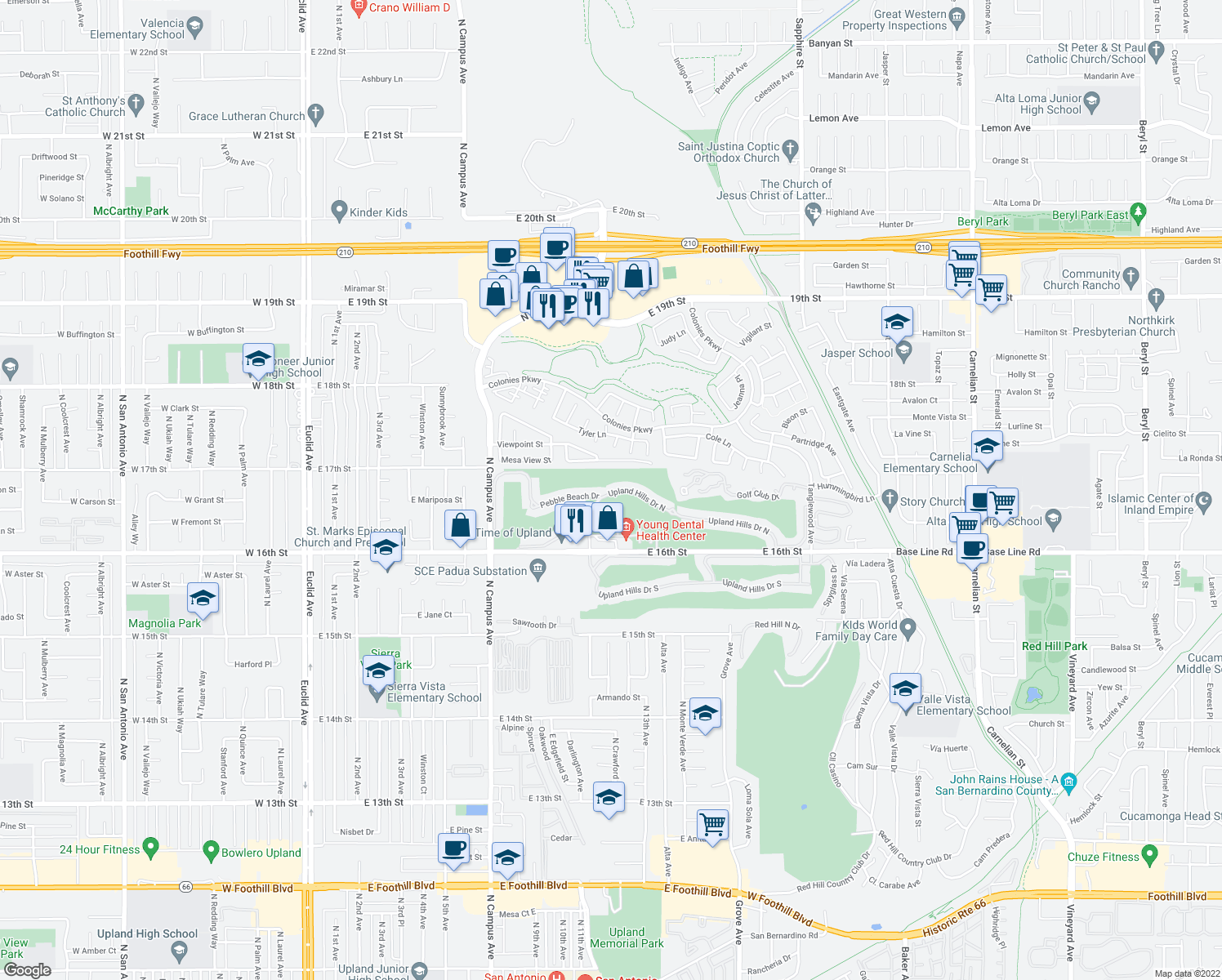 map of restaurants, bars, coffee shops, grocery stores, and more near 1233 Upland Hills Drive North in Upland