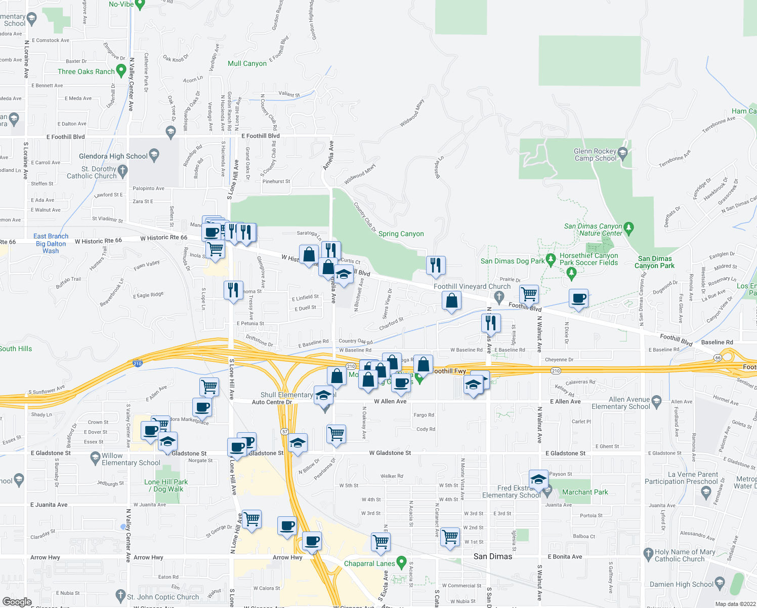 map of restaurants, bars, coffee shops, grocery stores, and more near 1318 Valeview Avenue in Glendora