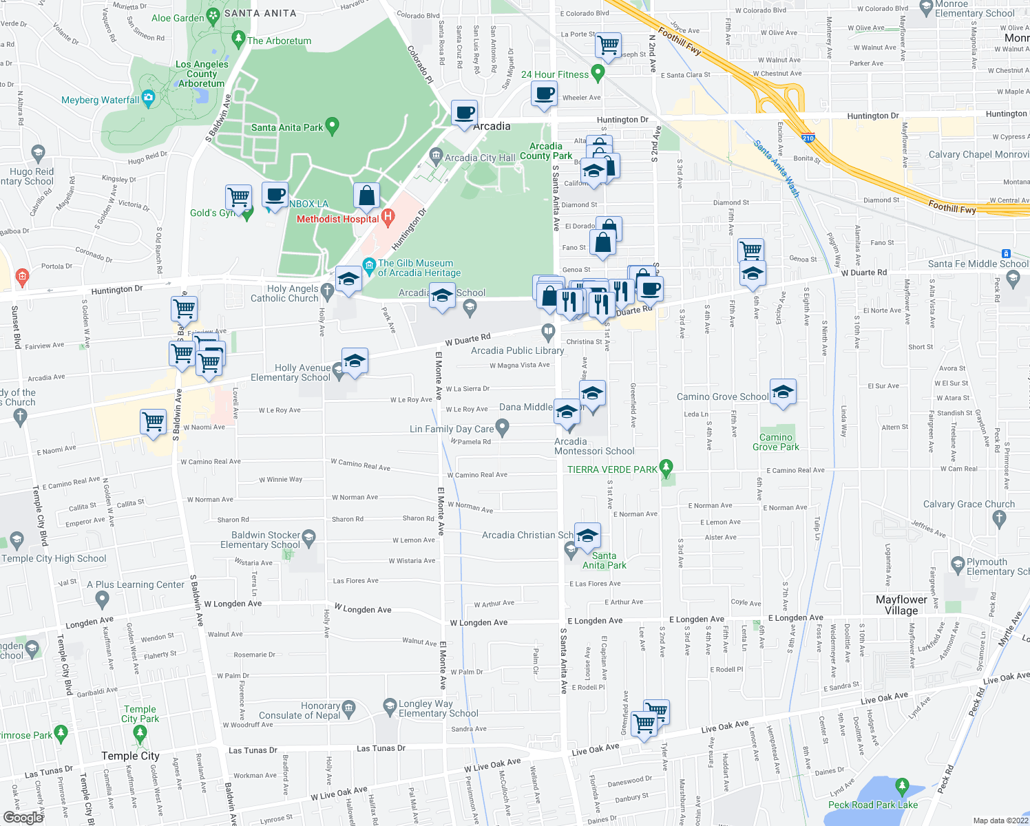 map of restaurants, bars, coffee shops, grocery stores, and more near 52 West Le Roy Avenue in Arcadia