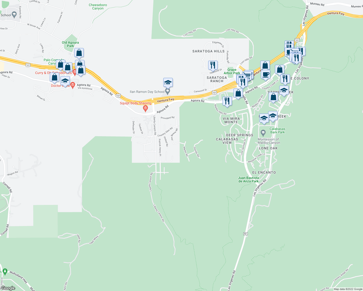 map of restaurants, bars, coffee shops, grocery stores, and more near 3891 Marks Road in Agoura Hills