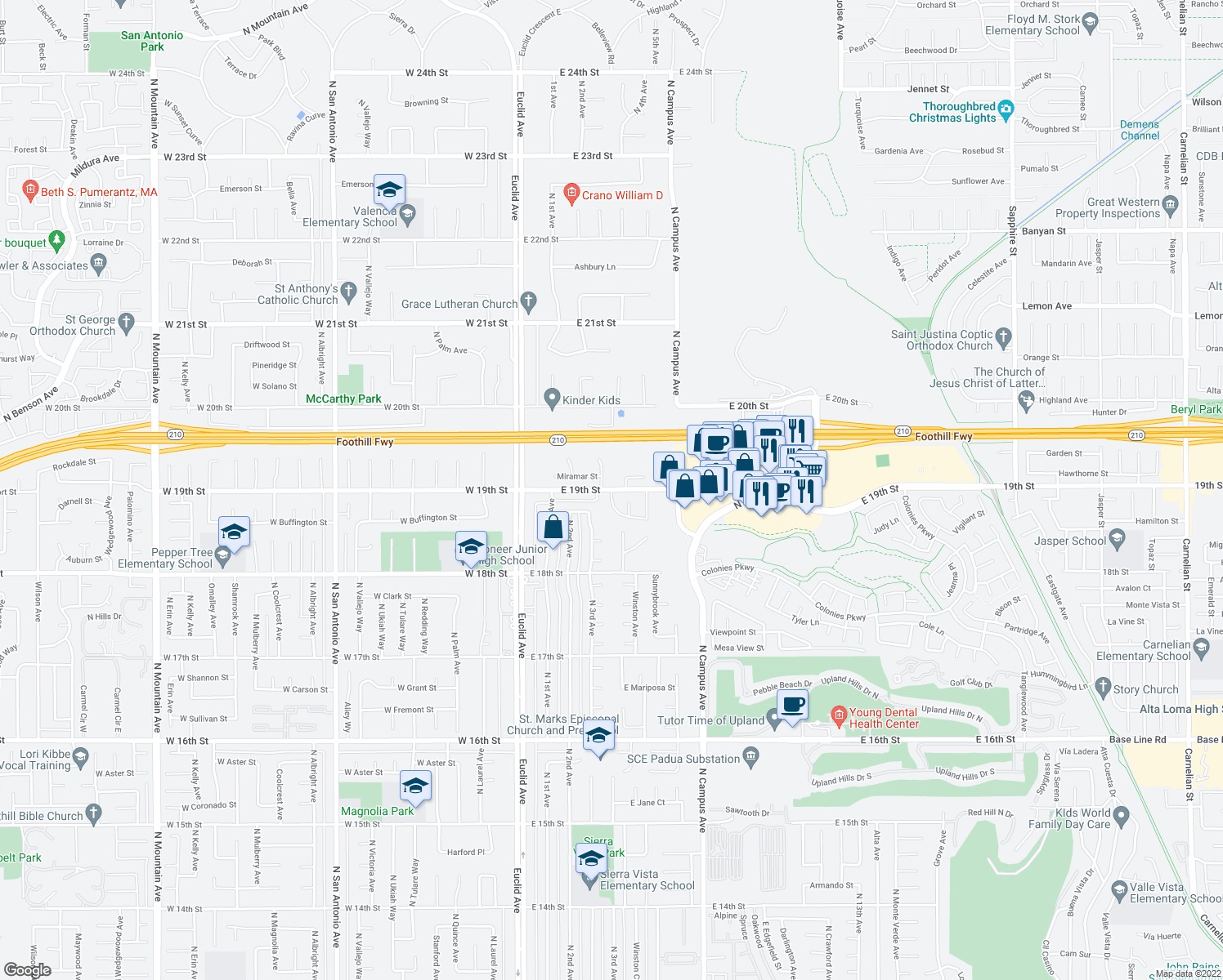 map of restaurants, bars, coffee shops, grocery stores, and more near 456 East 19th Street in Upland