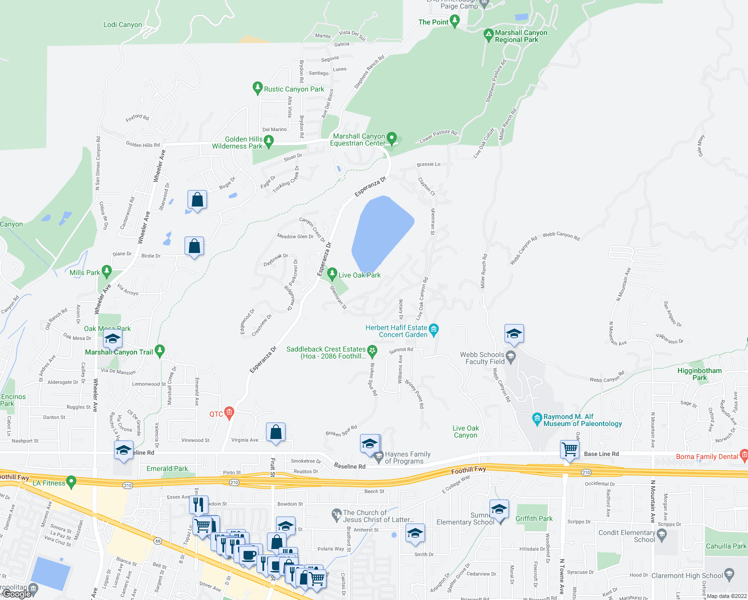 map of restaurants, bars, coffee shops, grocery stores, and more near 2785 Forester Drive in La Verne