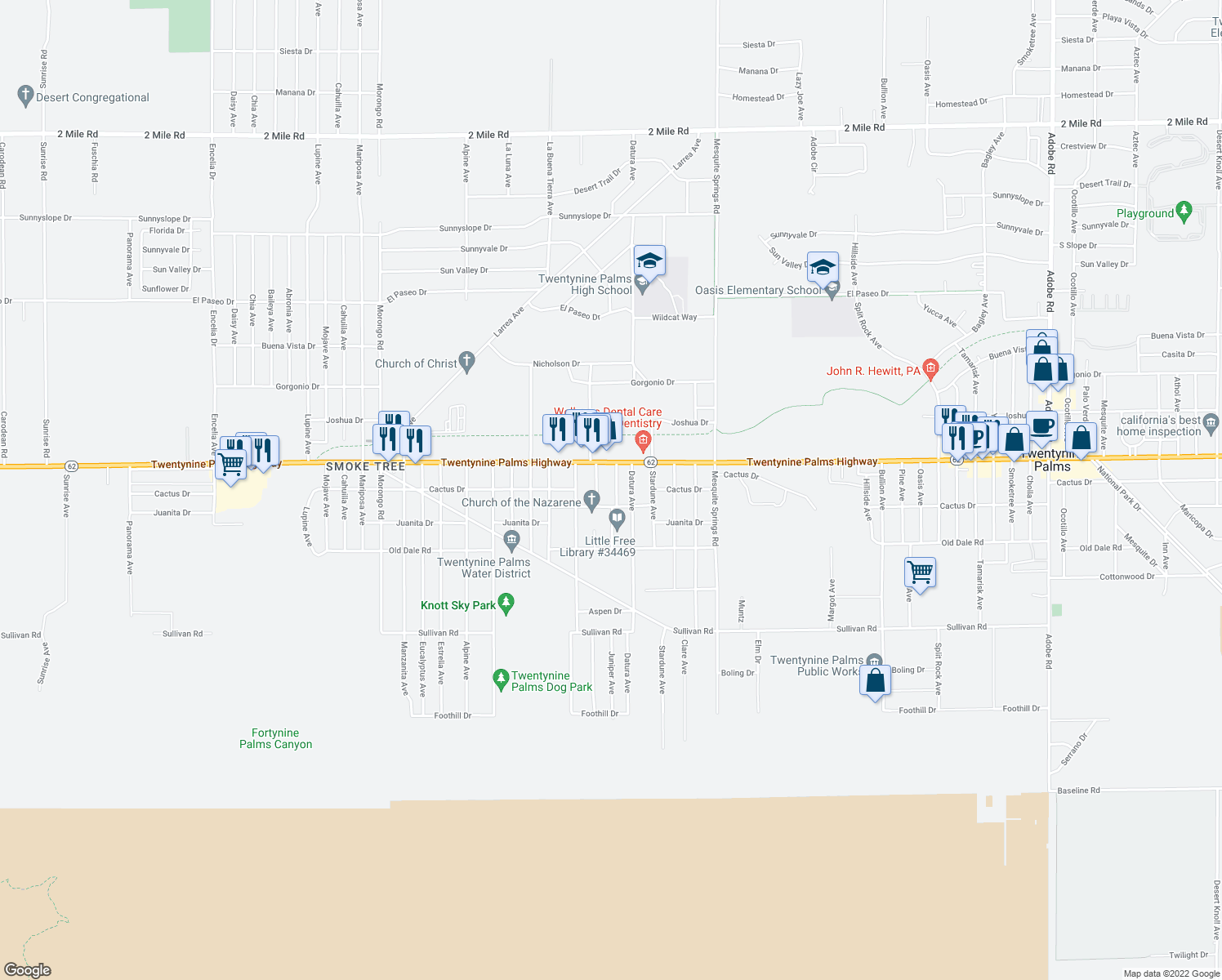 map of restaurants, bars, coffee shops, grocery stores, and more near 6554 Juniper Avenue in Twentynine Palms