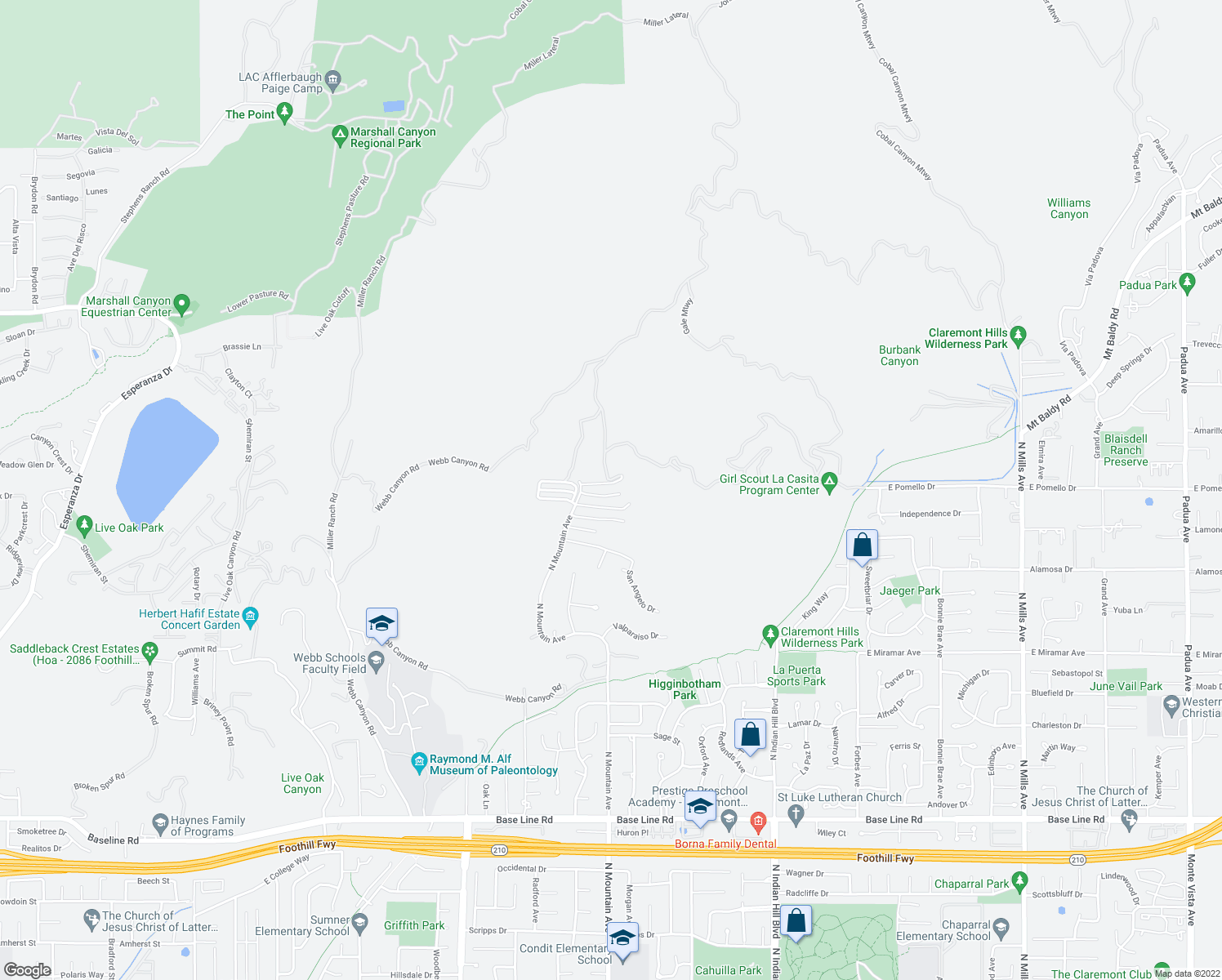 map of restaurants, bars, coffee shops, grocery stores, and more near 760 Vía Santa Catarina in Claremont