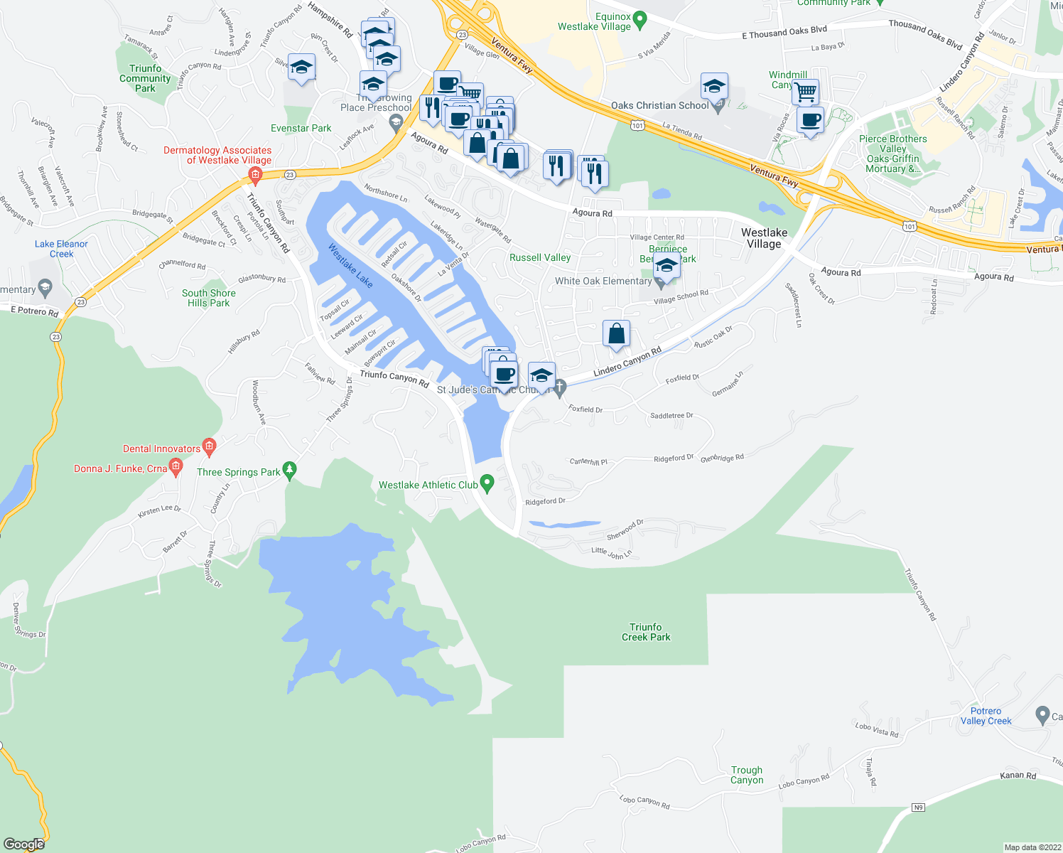 map of restaurants, bars, coffee shops, grocery stores, and more near 3631 Summershore Ln in Westlake Village