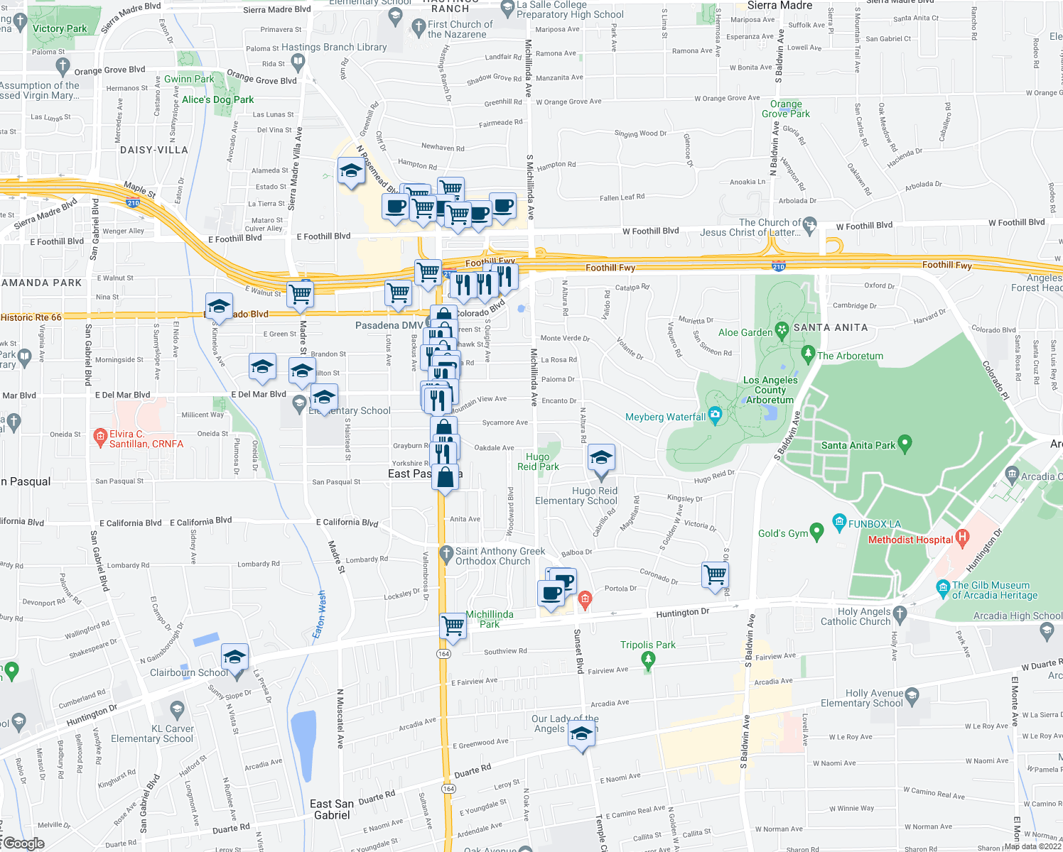 map of restaurants, bars, coffee shops, grocery stores, and more near 3957 Oakdale Avenue in Pasadena