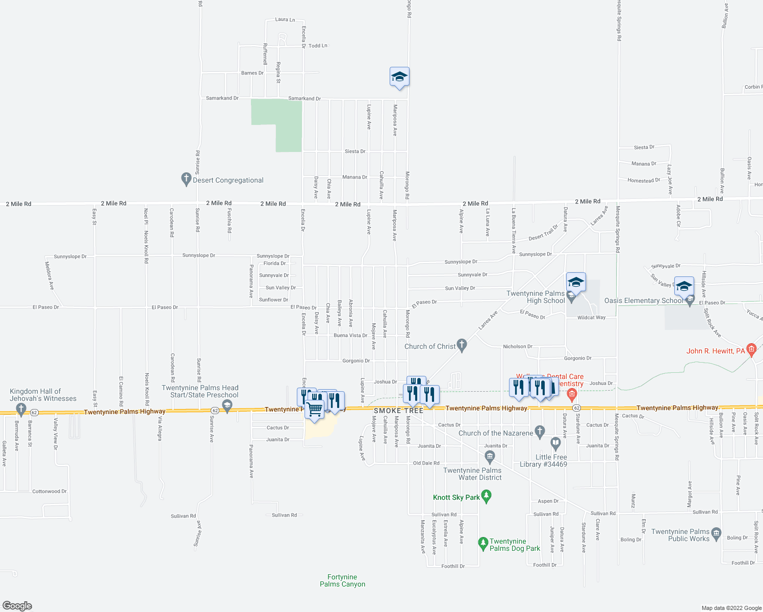 map of restaurants, bars, coffee shops, grocery stores, and more near 71996 El Paseo Drive in Twentynine Palms