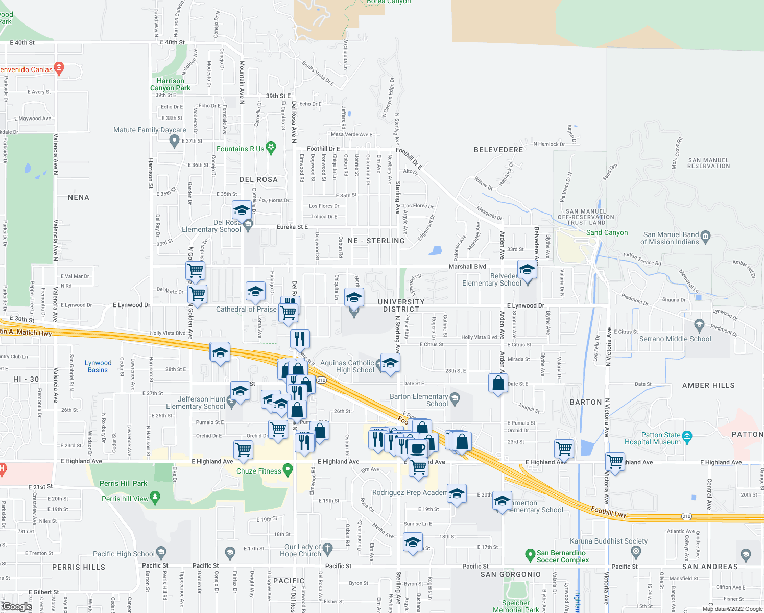 map of restaurants, bars, coffee shops, grocery stores, and more near North Sterling Avenue in San Bernardino