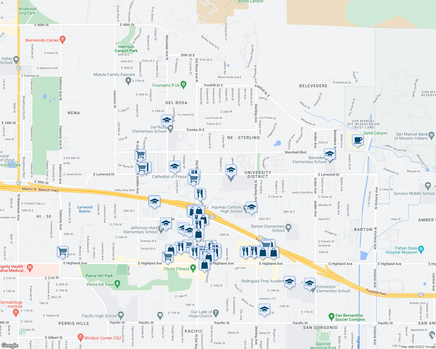 map of restaurants, bars, coffee shops, grocery stores, and more near 1777 East Lynwood Drive in San Bernardino