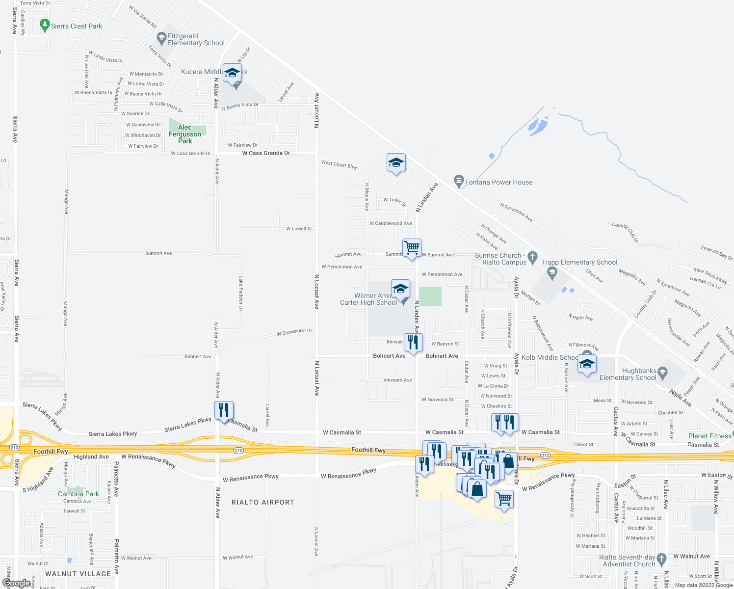 map of restaurants, bars, coffee shops, grocery stores, and more near 2633 North Maple Avenue in Rialto