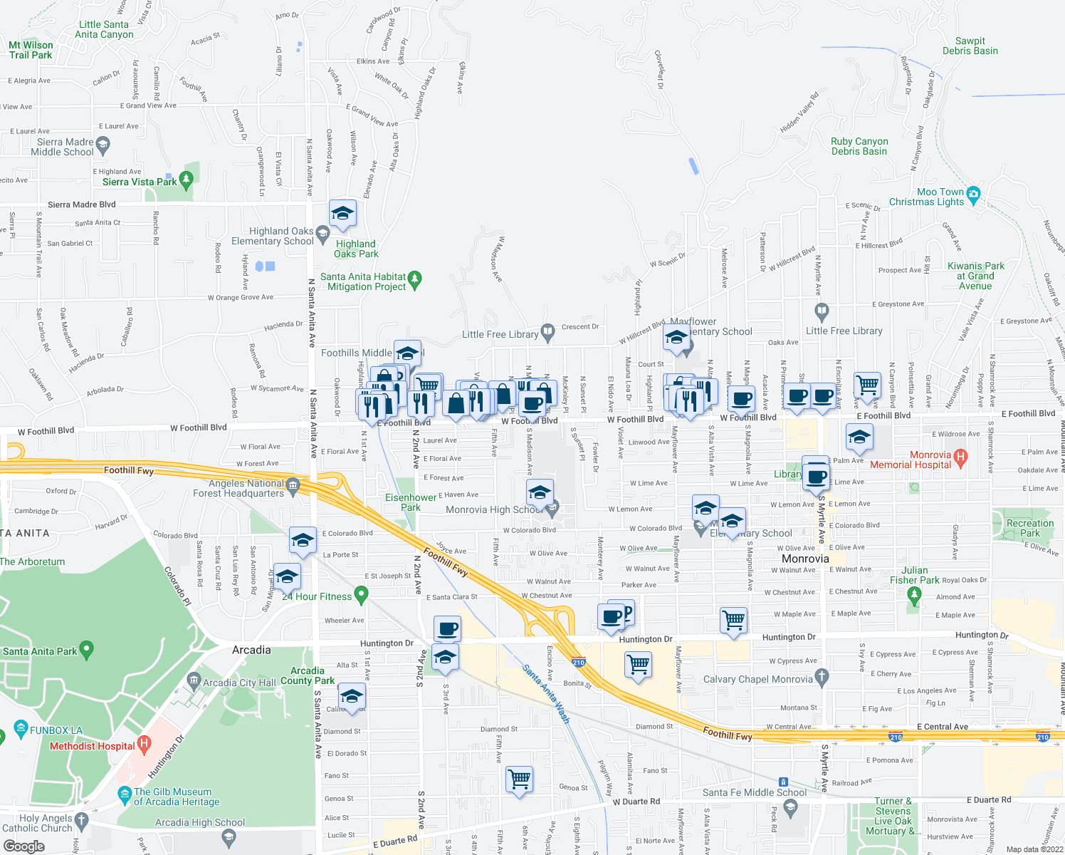 map of restaurants, bars, coffee shops, grocery stores, and more near 880 West Foothill Boulevard in Monrovia