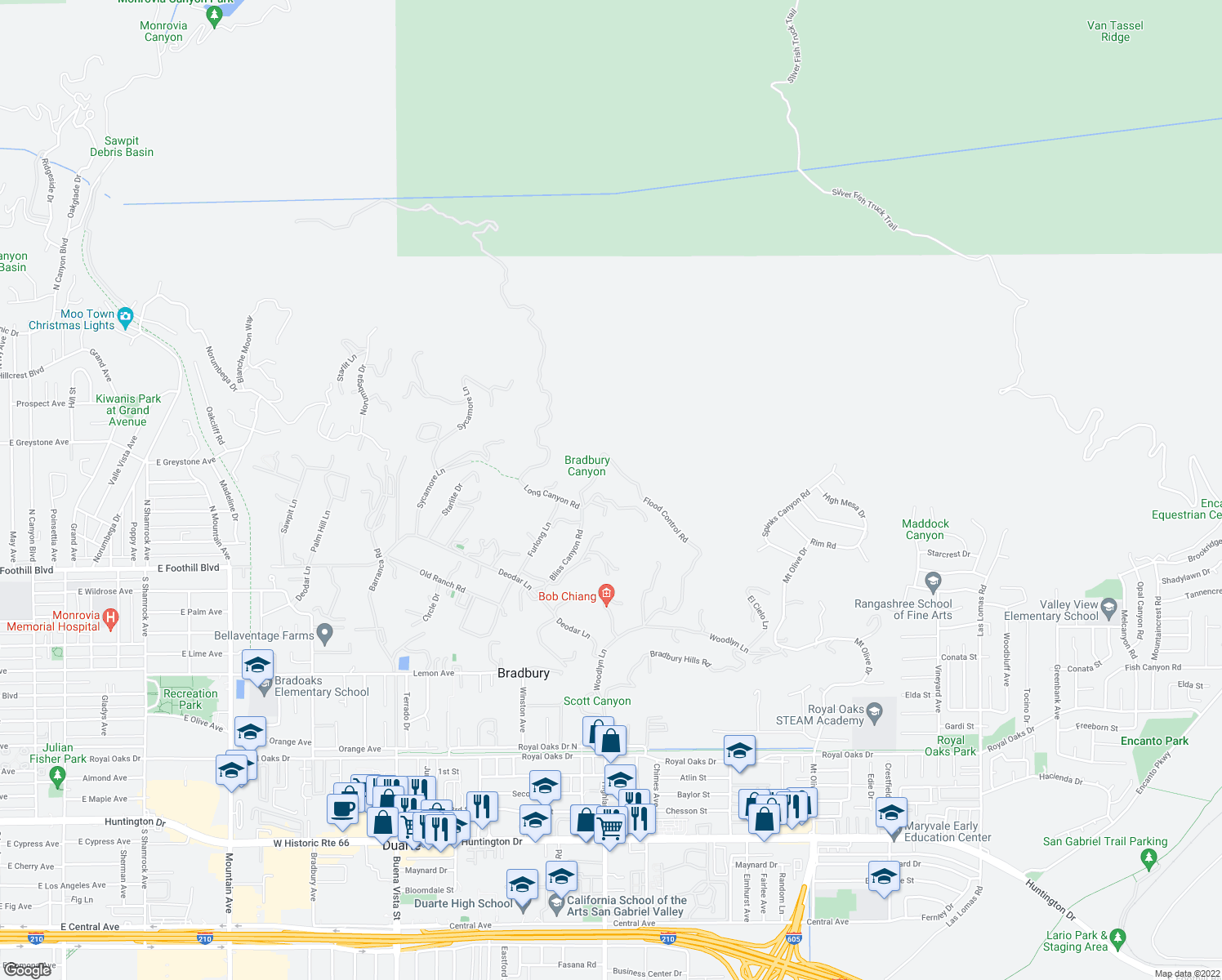 map of restaurants, bars, coffee shops, grocery stores, and more near 172 Bliss Canyon Road in Bradbury