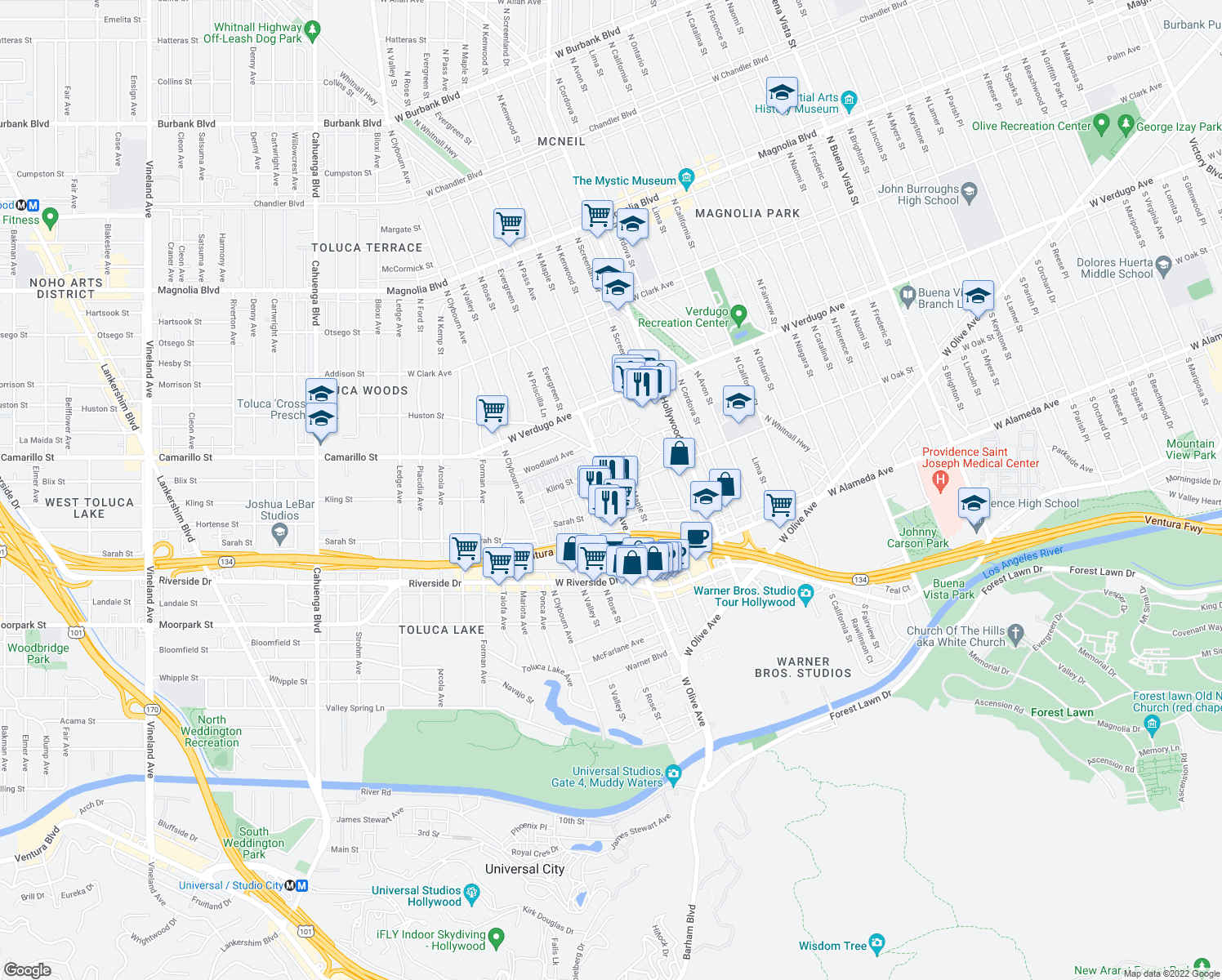 map of restaurants, bars, coffee shops, grocery stores, and more near 4001-4099 West Oak Street in Burbank